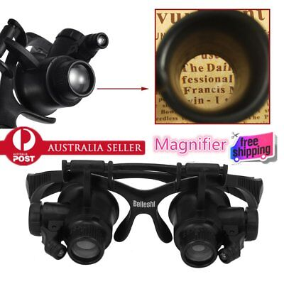 2 LED Lights Wearing Magnifier Jeweler Watch Repair Magnifying Loupe FK