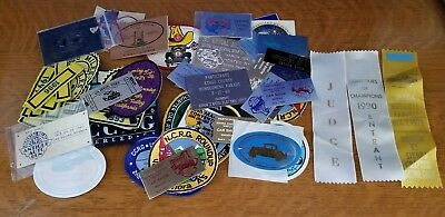 Vintage Lot Patches Stickers Trophy Plates Ribbons Car Club 1980's-1990's
