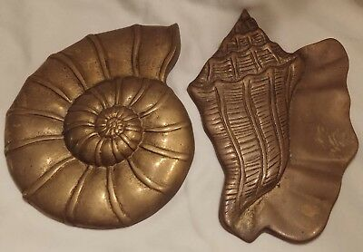 Lot of 2 Vintage Brass Metal Shell Nautical Wall Hangings