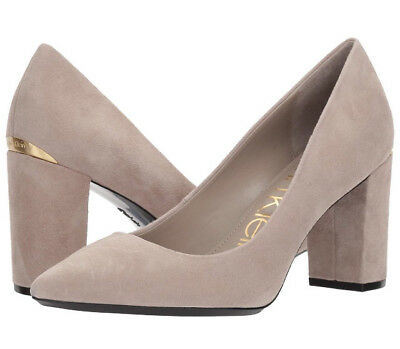 CALVIN KLEIN Women's Eviti Pump Clay/Beige kid suede Sz 6M new in box
