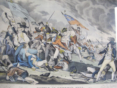 Antique Nathaniel Currier The Battle at Bunker's Hill Lithograph af Trumbull yqz