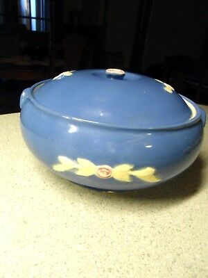 Vintage Coors Rosebud Blue Round French Casserole with Lid