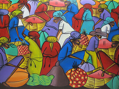 Vintage Haitian Folk Art Colorful Fruit Market Oil on Masonite Painting ~ BM yqz
