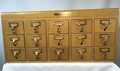Gaylord Brothers Vintage 15 Drawer Library Card Catalog Cabinet 1950's