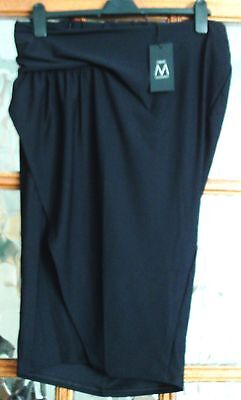 BNWT NEXT Jet BLOCK BLACK RUCHED WRAP Front Smart Elasticated MATERNITY Skirt 12