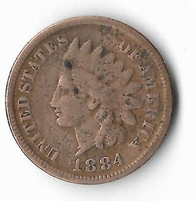 Rare Very Old Antique US 1884 Indian Head Penny USA One Cent Collection Coin IHP