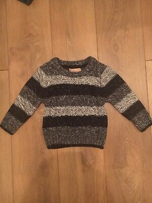 Next Boys Baby Striped Knitted Jumper Size 12-18 Months Grey Black