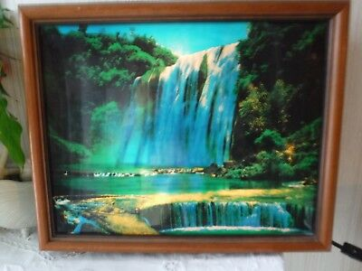 VINTAGE  Box Framed Motion Lamp w Waterfall Scene. BOLD COLORS