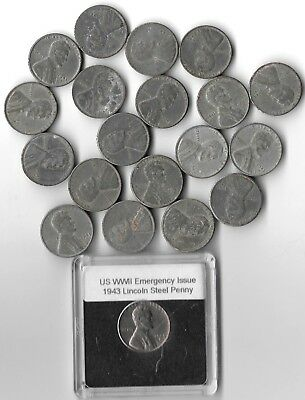 Rare Very Old WWII US Collection Steel Penny USA WW2 20 Coin Cent War Lot