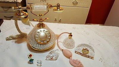 vintage collectable house clearance job lot of crystal inc Swarovski clock,phone