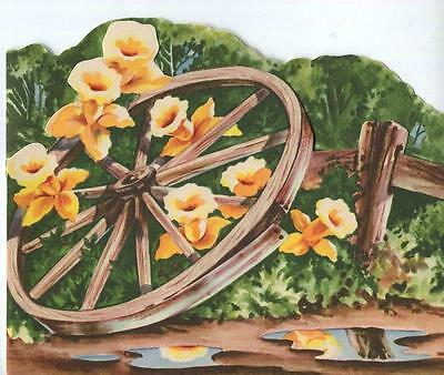 Vintage Yellow Spring Daffodils Jonquil Garden Wood Wheel Birthday Greeting Card