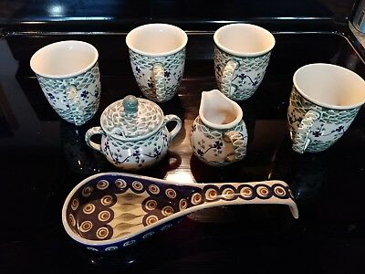 Antique Numbered Polish Pottery Coffee / Tea Set Up. Never Used.