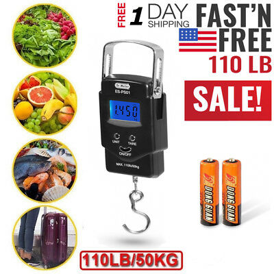 LCD Display 110lb/50kg Digital Fishing Postal Hanging Scale with Measuring Tape