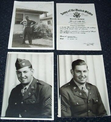 3 ORIGINAL WW2 PHOTOS LOT W/ DISCHARGE: 114th INFANTRY REGIMENT, 44th DIVISION