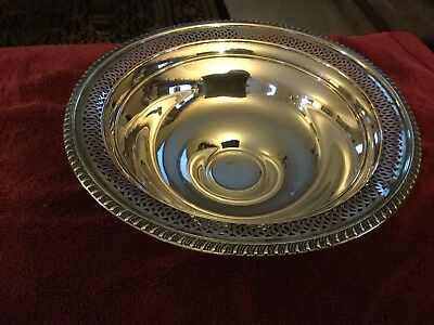 """Vintage/antique Sterling Silver Pierced Footed 8"""" Bowl Weighted"""