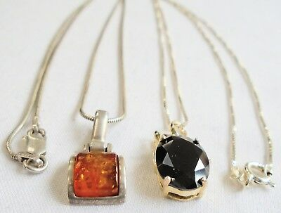 Two fine sterling silver pendants (amber, diamond paste) + sterling chains