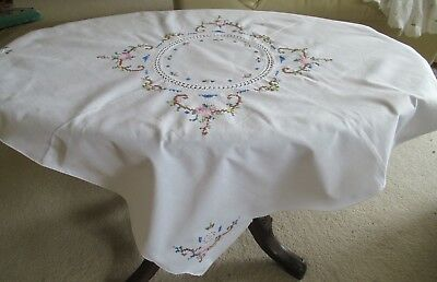 Vintage small WHITE TABLECLOTH with HAND-WORKED CROSS STITCH & pulled threads