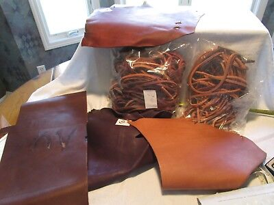 LEATHER over 3# STRIPS  VARIETY COLORS BROWNS & LENGTHS AND PCS. OF LEATHER #B50