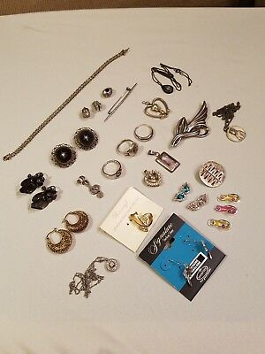 Antique Vintage & Modern 925 Sterling Silver Jewelry Lot Not Scrap Nice pieces!!