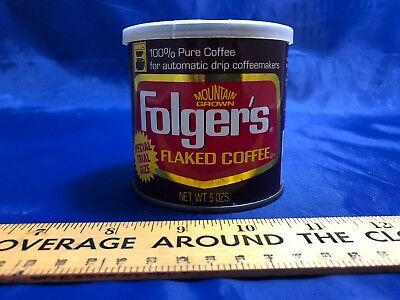 Vintage Folgers Flaked Coffee Can Special Trial Size, 5 Ounces With Lid, Rare