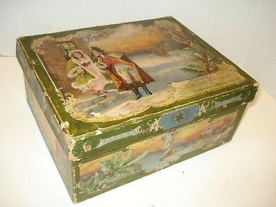 Antique Litho Print Victorian Christmas Card Box Decor Courting Scene