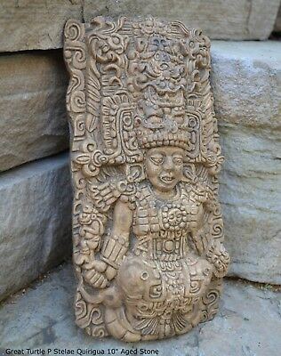 "Aztec Mayan The Great Turtle P Stelae Quirigua 10"" wall sculpture statue plaque"