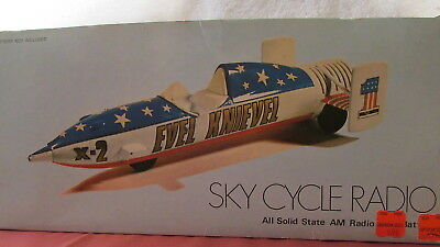 RARE KRYPTON ELECTRONIC EVEL KNIEVEL SKY CYCLE SOLiD STATE AM RADIO MODEL X2 MIB