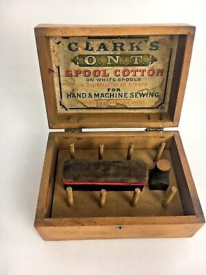 Antique, Vintage Clarks, O.N.T. Spool Cotton Sewing kit in Wooden Box. See Descr
