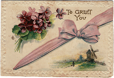 EARLY 1900's VINTAGE EMBOSSED VIOLETS WINDMILL RIBBON FOLDING CHRISTMAS CARD