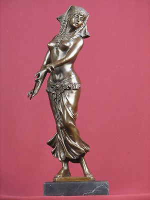 Signed Bronze Statue Art Deco Egyptian Dancer Handcrafted Sculpture On Marble