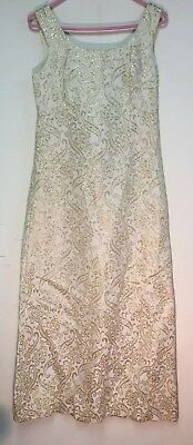 Vintage Mid Century Ira Curtis Formal Gown Dress Ivory & Gold Size 10 Regency