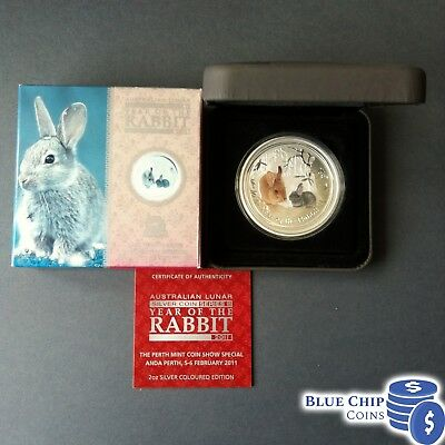 2011 $2 YEAR OF THE RABBIT 2oz COLOURED SILVER COIN ANDA SHOW NUMBERED 478