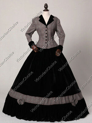 Victorian Civil War Day Suit Dress Theater Witch Punk Halloween Costume N 122 L