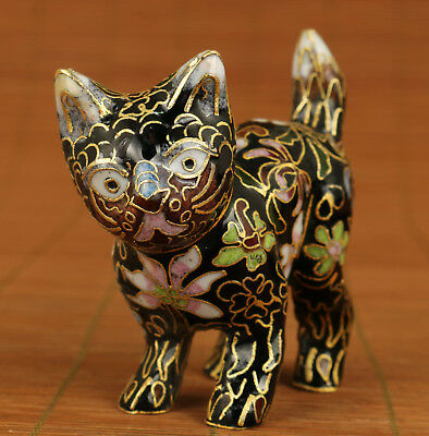 Rare Chinese Old Cloisonne Handmade Cat Figure Statue Gift decoration