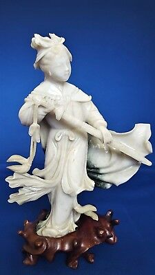 Antique Chinese Celedon And Dark Green Jadeite Female Warrior With Sword On
