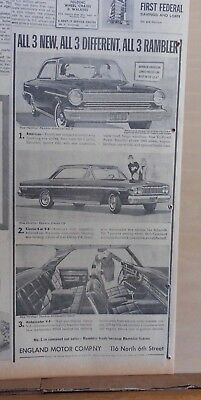 1963 newspaper ad for Rambler - All three new, different, all Rambler, 1964 cars