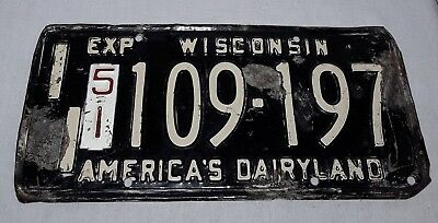 Vintage 1951 Wisconsin License Plate