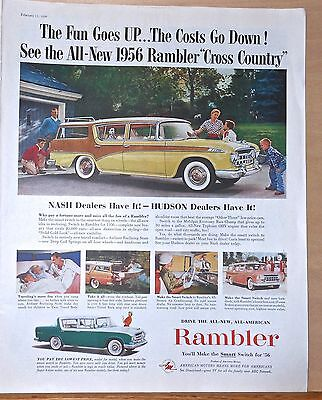 1956 magazine ad for Rambler - Cross Country Station Wagon, colorful ad