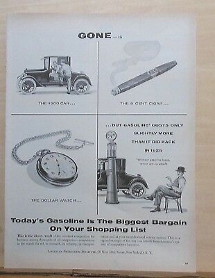 1955 magazine ad for Gasoline - Gas costs only slightly more than 1925 prices