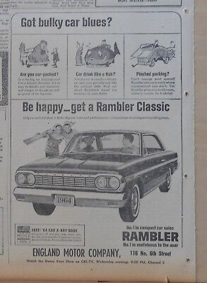 1964 newspaper ad for Rambler - Are You car-pecked? Be Happy get Rambler Classic