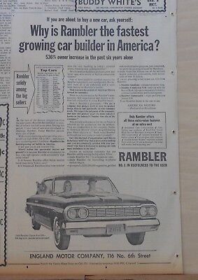 1964 newspaper ad for Rambler - Fastest growing car builder in America, Classic