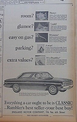 1964 newspaper ad for Rambler - Classic, Room Plenty!, Glamor Loads! Easy on Gas