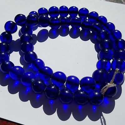 Nos 50 Rare Round Gorgeous Old Large 17 Mm Cobalt Russian Blue Antique Beads