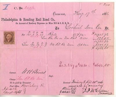 1866 Civil War Era ~ Philadelphia & Reading Railroad Co. Letterhead / Bill Stamp