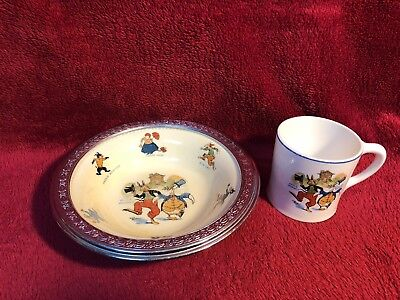 Rare Old Golden Main Uncle Wiggily Childs Bowl W/ Metal Rim Sebring Pottery Co.