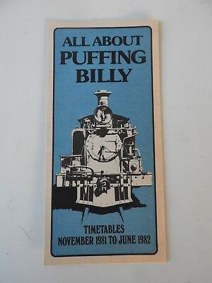 Victorian Railways VR Puffing Billy Timetable Pamphlet. Book/Magazine etc.