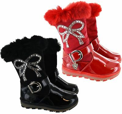 Kids Children Girls Winter Warm Fur Lined Zip Mid Calf School Buckle Boots Size
