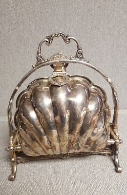 Victorian Silver Plated Antique Folding ClamShell Biscuit Box / Bun Warmer