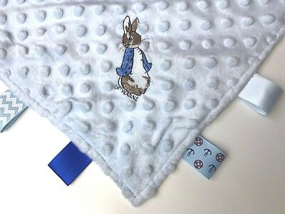 Personalised Baby Taggie Taggy Comforter / Comfort Blanket With Peter Rabbit
