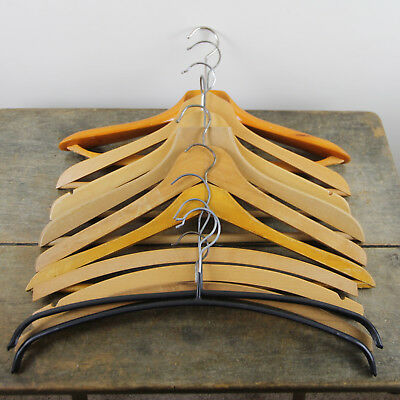 Set 10 Vintage Old Wooden Tailors Suit Clothes Trouser Coat Hangers